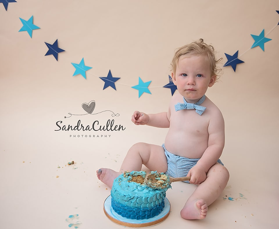 Oliver's cake smash photoshoot was featured on the BBC